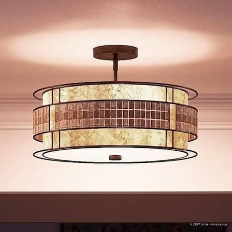 "Luxury Art Deco Semi-Flush Ceiling Light, 12""H x 16""W, with Moroccan Style, Copper Revival Finish - 12"" H, 16"" W, 16"" Dep"