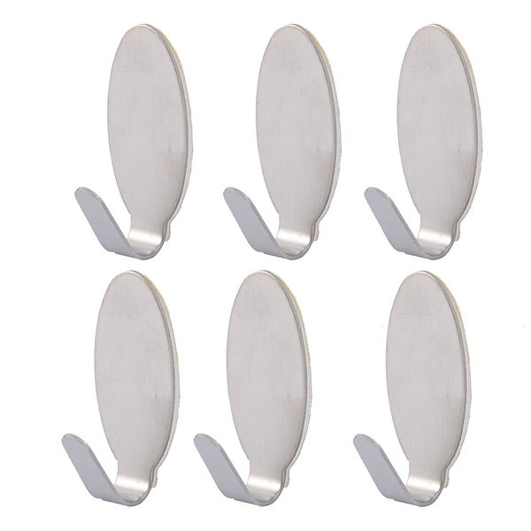 """Stainless Steel Oval Shaped Self Adhesive Wall Hooks Hanger 6pcs - Silver - 1.4"""" x 0.6"""" x 0.6""""(L*W*T). Opens flyout."""