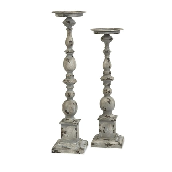 Set of 2 Distressed Finial Pedestal Pillar Candle Holders - N/A