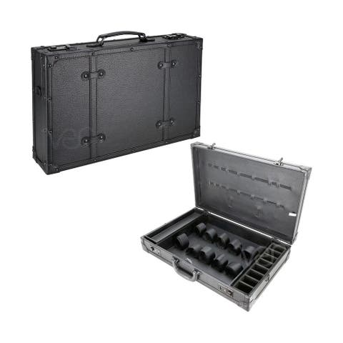 VER Black Leatherette Barber Stylist Lock Attached Carrying TravelCase
