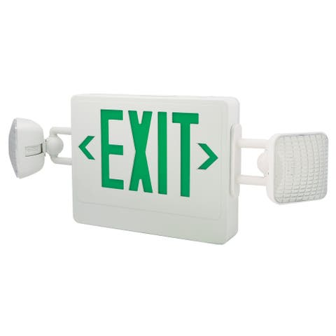 "Elco EE98H 26"" Wide LED Exit Sign with Adjustable Emergency Light Heads - - White / Green"