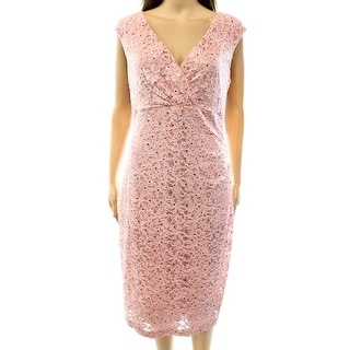 Connected Apparel NEW Pink Women's Size 10 Sequin Lace Sheath Dress