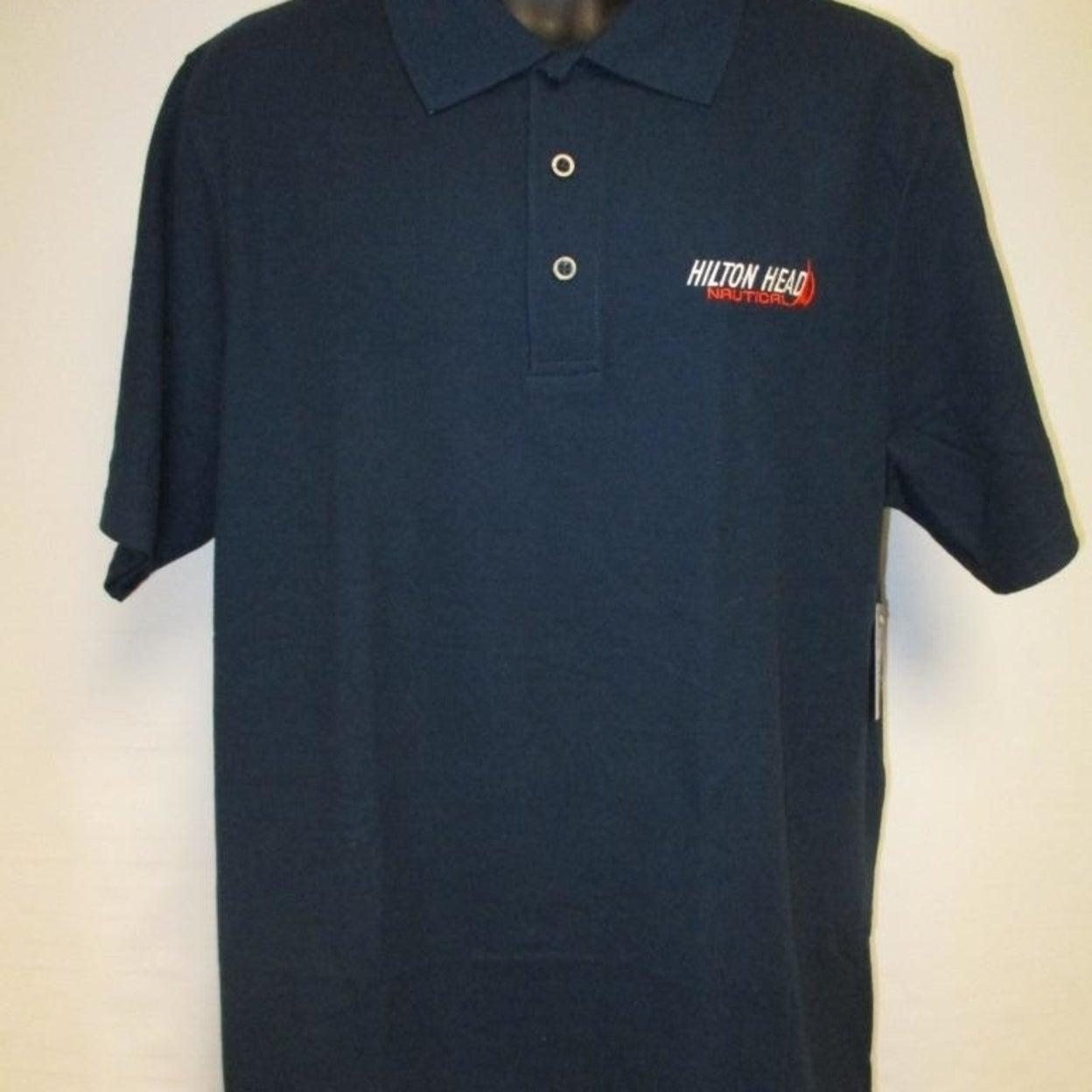 New Hilton Head South Carolina SC Mens Size L Large Blue Polo Shirt