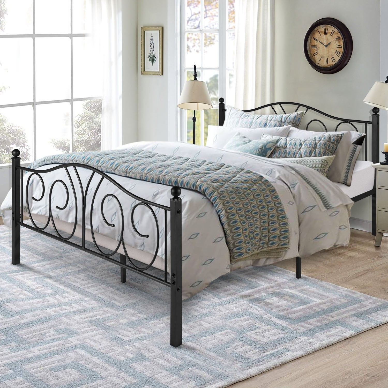 Vecelo Vintage Graceful Classic Scroll Black Metal Bed Iron Kids Bed Twin Full Queen Overstock 30100822 Twin