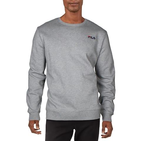 Fila Mens Colona Sweatshirt Fitness Activewear - Varsity Heather/Navy/Red