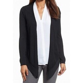 Nic+Zoe Black Women's Size XL Cardigan Silk Open-Front Sweater