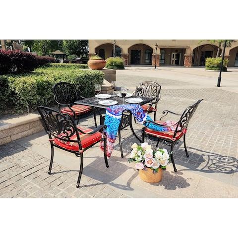 Moda Outdoor 5-Piece All-Weather Alum Casting Garden Dining Set