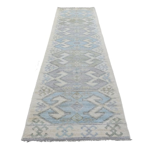 """Shahbanu Rugs Soft Wool Hand Knotted Ivory Village Inspired Anatolian Oriental Wide Runner Rug (3'2"""" x 11'7"""") - 3'2"""" x 11'7"""""""
