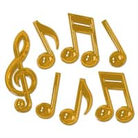 """Club Pack of 84 Shiny Gold Plastic Musical Notes Party Decoration 13"""""""