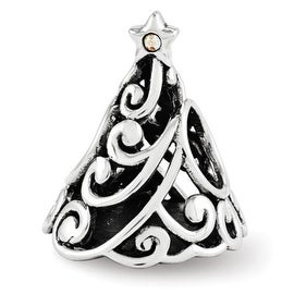 Sterling Silver Reflections Swarovski Filigree Christmas Tree Bead (4mm Diameter Hole)