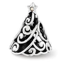 Sterling Silver Reflections Swarovski Elements Filigree Christmas Tree Bead (4mm Diameter Hole)