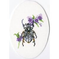 """Bug On Lungwort Counted Cross Stitch Kit-3""""X3.5"""" 16 Count"""