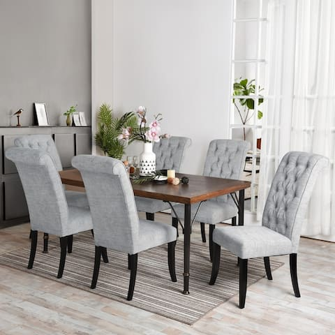 Furniture R Traditional Solid Wood 7-Piece Dining Set