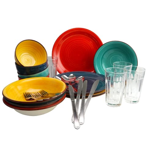 Gibson Swirl Speckled 28 Piece Mix and Match Dinnerware Combo Set