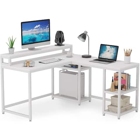 59x55 inch Large Reversible L-Shaped Desk with Monitor Stand and Shelf