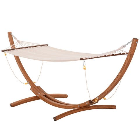"""Mawesdai Beige Fabric Hammock Bed with Wood Stand by Havenside Home - 124"""" L x 39.3"""" W x 43.3"""" H"""