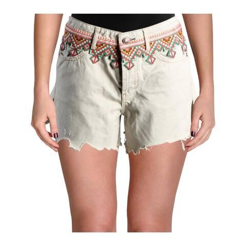 Free People Womens Borderline Denim Shorts Cutoff Embroidered