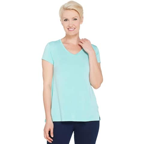 H by Halston Womens Plus V-Neck Top with Forward Notch Detail 2X Aqua A306231