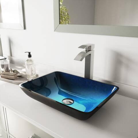 VIGO Turquoise Water Glass Vessel Bathroom Sink Set with Duris Faucet