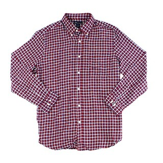 John Ashford NEW Red Mens Size Small S Plaid-Flannel Button Down Shirt