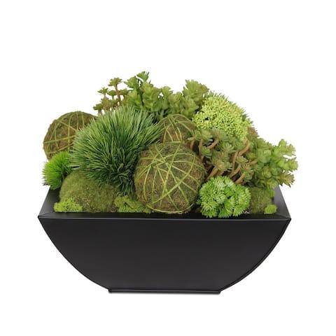 Artificial Grass Balls, Succulents, Moss Rocks in Black Metal Zinc Pot - 14W x 14D x 12H