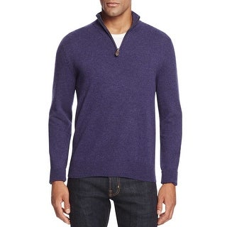 Bloomingdales Mens 2-Ply Cashmere Half Zip Mock Neck Sweater Blueberry