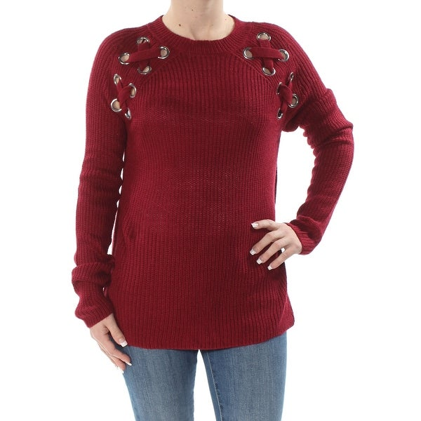 FRESHMAN FOREVER Womens Red Embellished Long Sleeve Jewel Neck Sweater Juniors Size: S