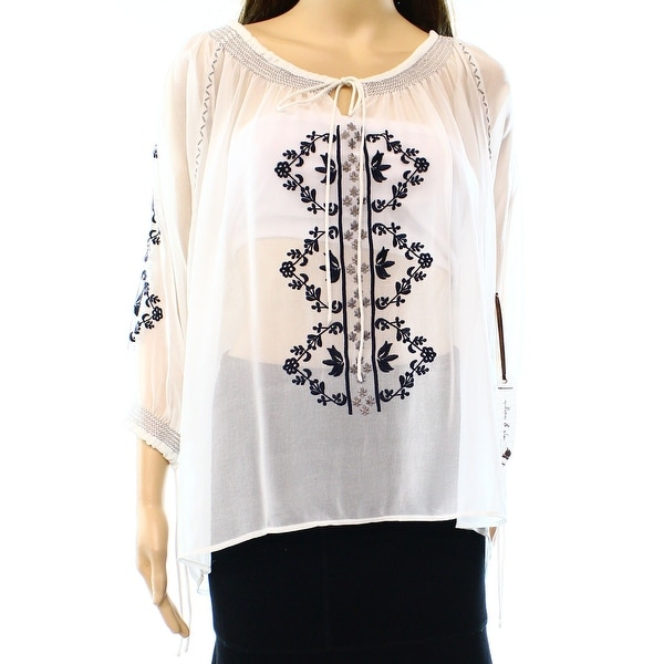 2457ec51c101b9 Shop Willow   Clay NEW White Women s Small S Embroidered High Low Blouse -  Free Shipping On Orders Over  45 - Overstock - 17144368