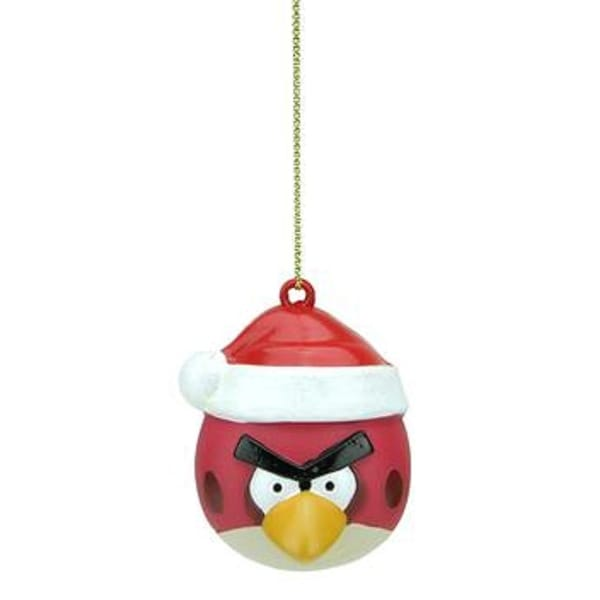 "2.5"" Red Angry Bird with Santa Hat Christmas Ornament - WHITE"