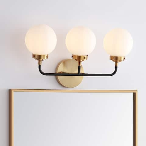 """Caleb 3-Light 22"""" Brass Wall Sconce, Brass Gold/Black by JONATHAN Y"""