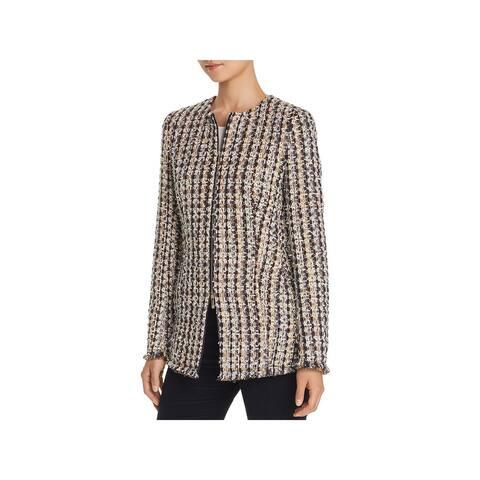 Lafayette 148 New York Womens Landon Tweed Jacket Wool Blend Long Sleeves
