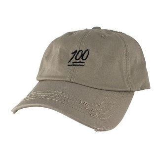 CapRobot Emoji The 100 Hundred Distressed Adjustable Unstructured Strapback Hat Dad Cap - Khaki Black