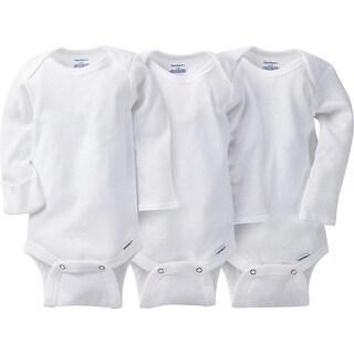 Gerber Unisex-Baby Newborn 3 Pack Longsleeve Mitten Cuff Onesies Brand, White