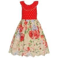 Bonnie Jean Little Girls Red Floral Pattern Ruffle Trim Casual Dress