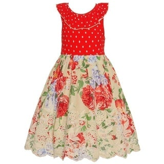 Bonnie Jean Little Girls Red Floral Pattern Ruffle Trim Casual Dress