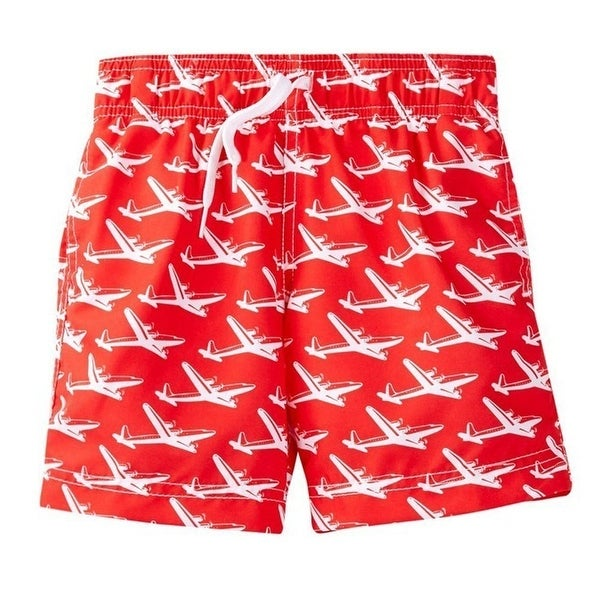 Azul Baby Boys Red Airplane Print Pan Am Drawstring Tie Swim Shorts - 18 months