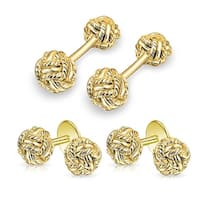 Bling Jewelry Gold Plated Silver Double Woven Knot Cufflinks and Studs Set