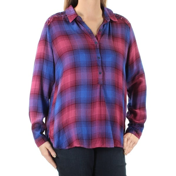49c0209910f Shop LUCKY BRAND $80 Womens New 1171 Purple Plaid Button Front Cuffed Hi-Lo  Top L B+B - Free Shipping On Orders Over $45 - Overstock.com - 22641791