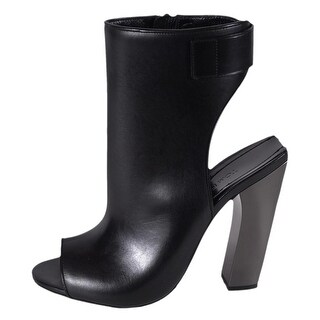 Tom Ford Women's W2078R Black Leather Zip Up Ankle Boots Shoes