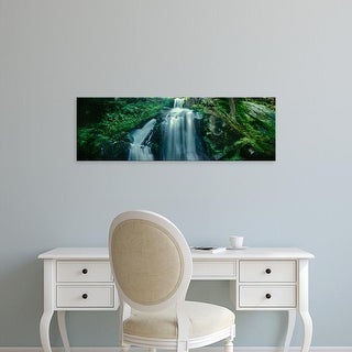 Easy Art Prints Panoramic Images's 'Waterfall in a forest, USA' Premium Canvas Art