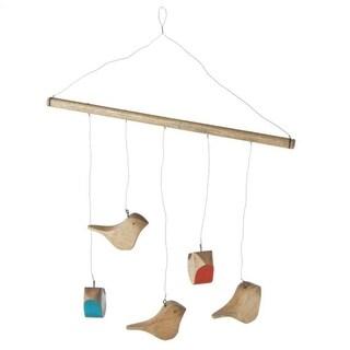 "Pack of 2 Rustic Homespun Hand Carved Mango Wood Bird Hanging Mobiles 32"""