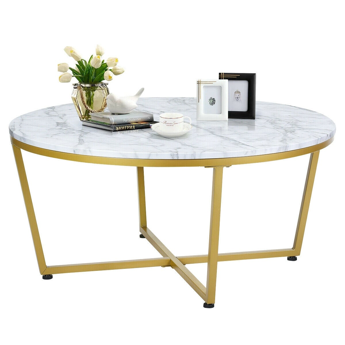 Gymax Modern Round Coffee Table Faux Marble Top W Gold Metal Base Living Room As Pic Overstock 28764052