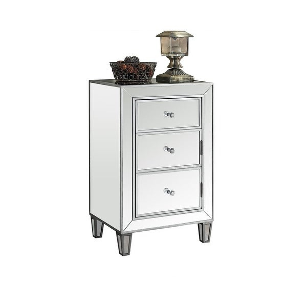 Monarch Specialties I 3706 18 Inch Wide Mirrored Accent Chest With 3 Drawers Silver