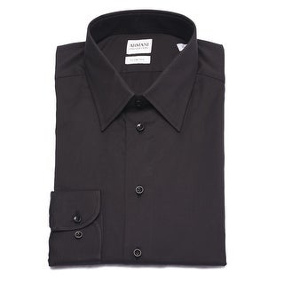 Armani Collezioni Men Slim Fit Cotton Dress Shirt Black Blue White