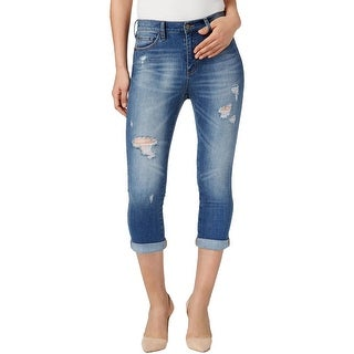 Buffalo David Bitton Womens Ivy Cropped Jeans High Waist Trickery Wash