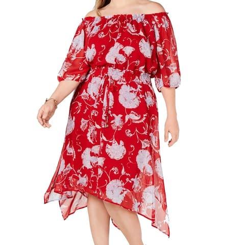 Tommy Hilfiger Womens Red Size 20W Plus Floral Asymmetric A-Line Dress