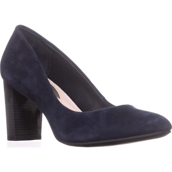 A35 Morgaan Block-Heel Pumps, New Navy - 6.5 us
