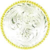 M&F Western Scarf Slide Concho Swirl Rope Edges Silver Gold