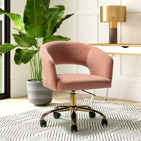 Karina Upholstered Task Chair with Gold Base