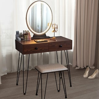 Link to Vanity Set Makeup Dressing Table with Round Lighted Mirror Similar Items in Bedroom Furniture
